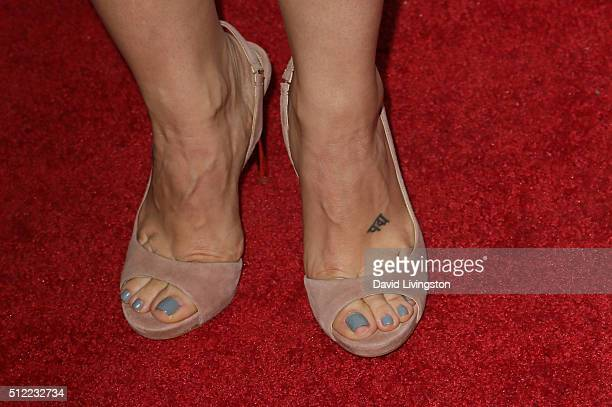 Actress Emme Rylan shoe detail arrives at the 40th Anniversary of the Soap Opera Digest at The Argyle on February 24 2016 in Hollywood California