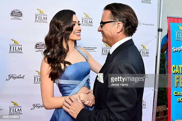 Actress Emmy Rossum and actor Andy Garcia arrive at the 2014 Catalina Film Festival Premiere of 'Rudderless' on September 27 2014 in Catalina Island...