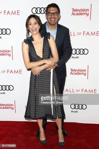 Actress Emmy Rossum and actor Sam Esmail attend the Television Academy's 24th Hall of Fame Ceremony at the Saban Media Center on November 15 2017 in...