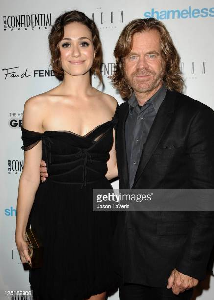 Actress Emmy Rossum and actor William H. Macy attend Los Angeles Confidential Magazine's annual pre-Emmy bash at The London Hotel on September 15,...