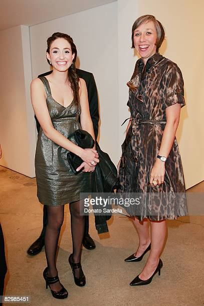 Actress Emmy Rossum and artist Alexandra Grant attend a dinner hosted by Vogue and Mulberry celebrating the work of Alexandra Grant on display at the...
