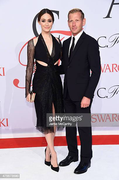 Actress Emmy Rossum and designer Paul Andrew attend the 2015 CFDA Fashion Awards at Alice Tully Hall at Lincoln Center on June 1 2015 in New York City