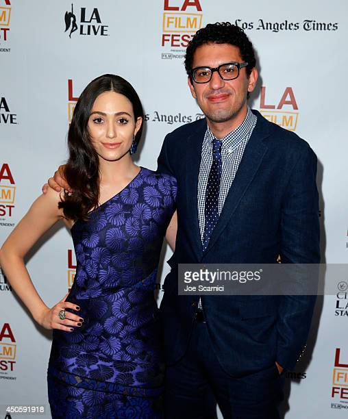 Actress Emmy Rossum and director Sam Esmail attend the 'Comet' premiere during the 2014 Los Angeles Film Festival at Regal Cinemas LA Live on June 13...