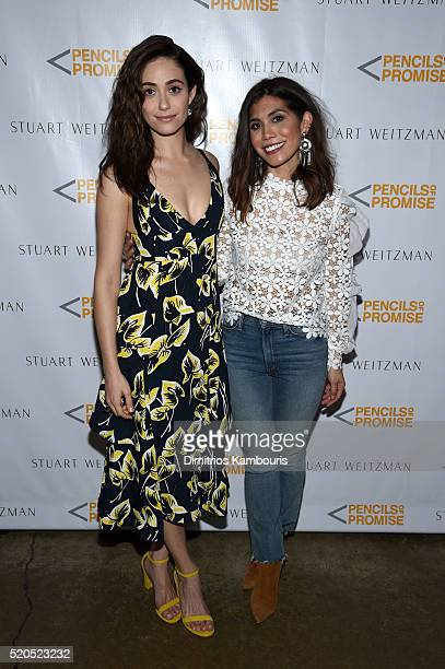Actress Emmy Rossum and Head of Marketing at Pencils of Promise Natalie Ebel attend as Stuart Weitzman launches its partnership with Pencils Of...