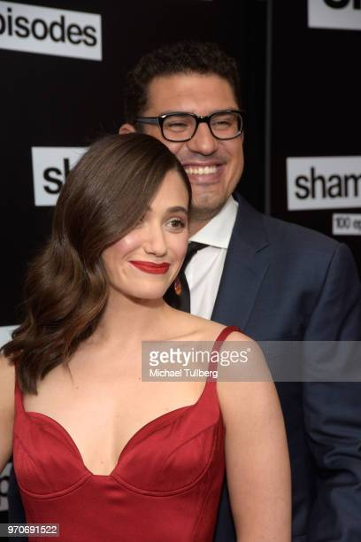 Actress Emmy Rossum and husband Sam Esmail attend the celebration of the 100th episode of Showtime's 'Shameless' at DREAM Hollywood on June 9 2018 in...