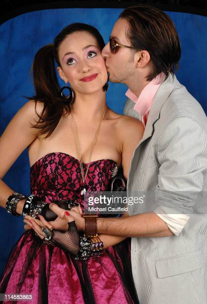 Actress Emmy Rossum and Justin Siegel pose during Ashlee Simpson's 23rd birthday party held at a private residence on October 6 2007 in Los Angeles...