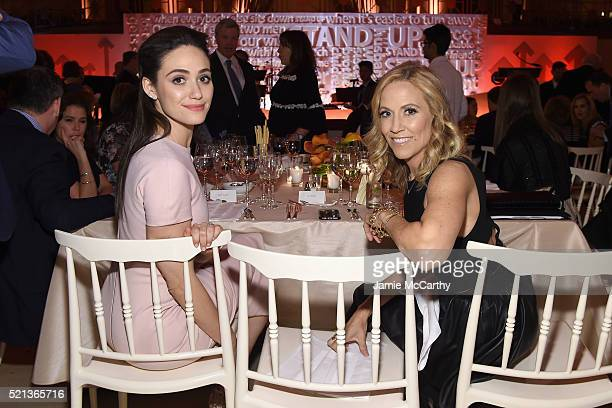 Actress Emmy Rossum and recording artist Sheryl Crow attend Stand Up To Cancer's New York Standing Room Only presented by Entertainment Industry...