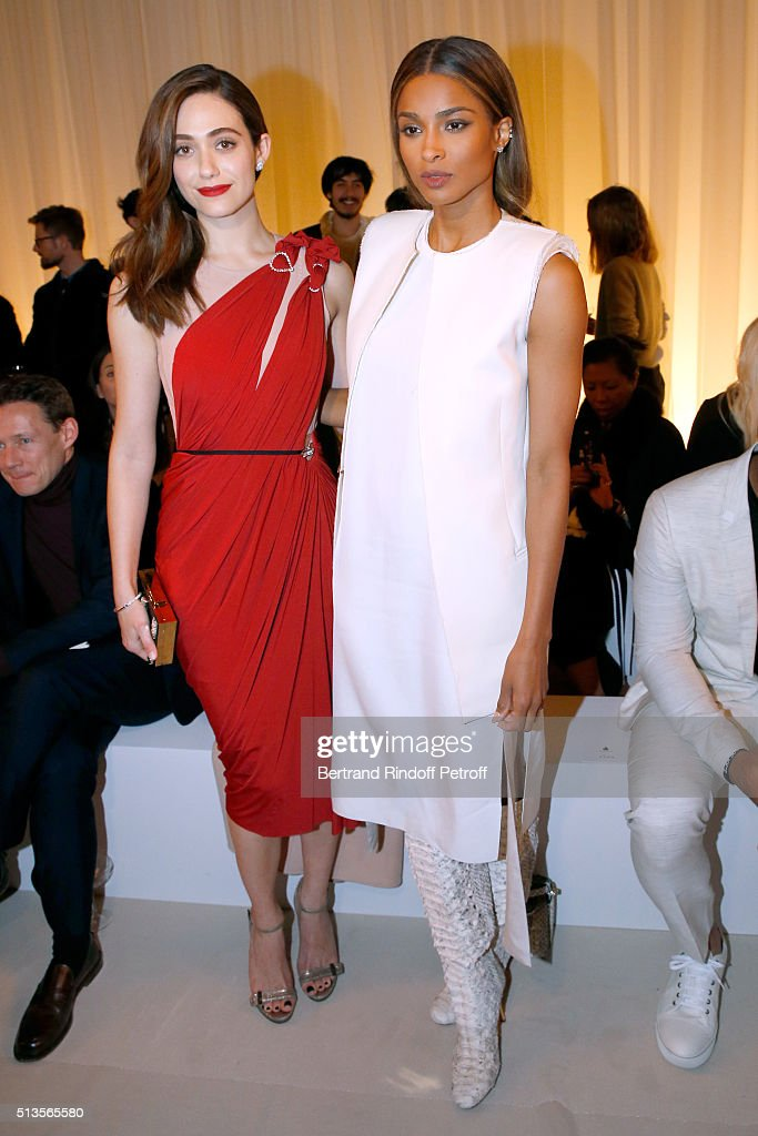 Actress Emmy Rossum and Singer Ciara attend the Lanvin show as part of the Paris Fashion Week Womenswear Fall/Winter 2016/2017 on March 3, 2016 in Paris, France.