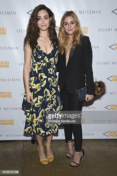 Actress Emmy Rossum and television personality Olivia Palermo attend as Stuart Weitzman launches its partnership with Pencils Of Promise at Sadelle's...