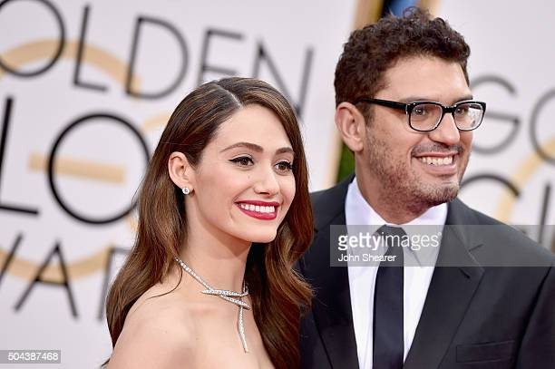 Actress Emmy Rossum and writer Sam Esmail attend the 73rd Annual Golden Globe Awards held at the Beverly Hilton Hotel on January 10 2016 in Beverly...