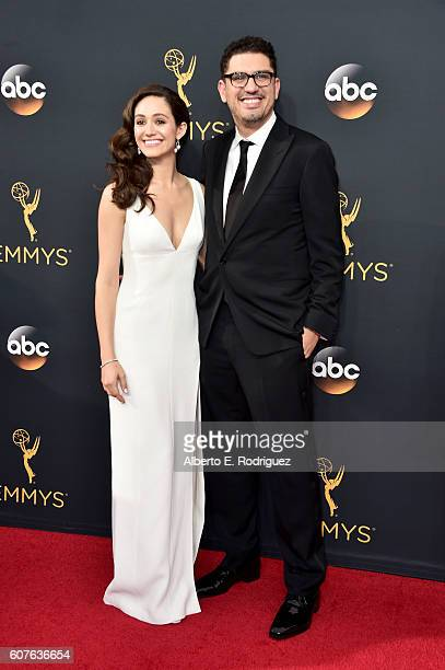 Actress Emmy Rossum and writerproducer Sam Esmail attend the 68th Annual Primetime Emmy Awards at Microsoft Theater on September 18 2016 in Los...