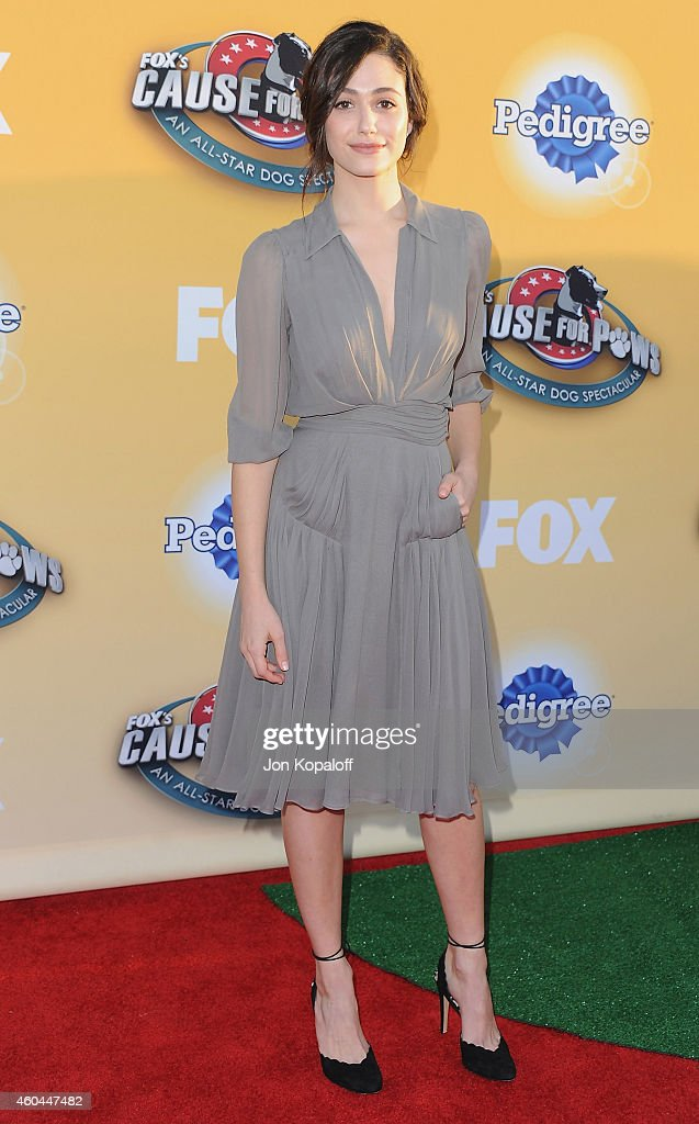 Actress Emmy Rossum arrives at FOX's Cause For Paws: An All-Star Dog Spectacular at The Barker Hanger on November 22, 2014 in Santa Monica, California.