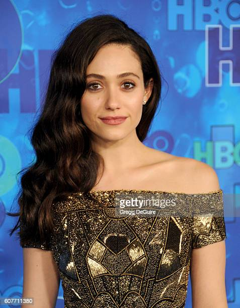 Actress Emmy Rossum arrives at HBO's Post Emmy Awards Reception at The Plaza at the Pacific Design Center on September 18 2016 in Los Angeles...