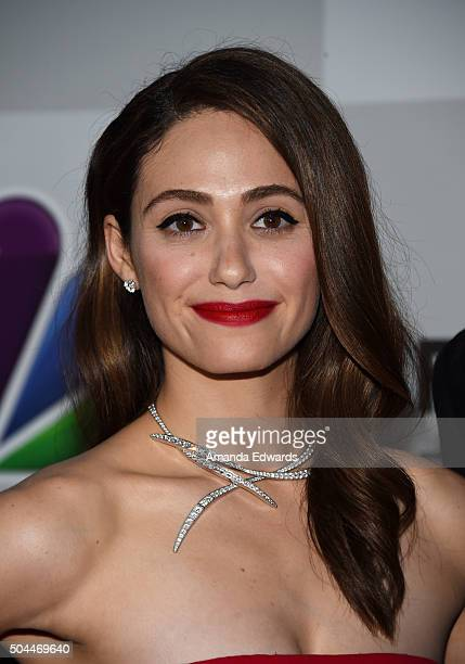 Actress Emmy Rossum arrives at NBCUniversal's 73rd Annual Golden Globes After Party at The Beverly Hilton Hotel on January 10 2016 in Beverly Hills...