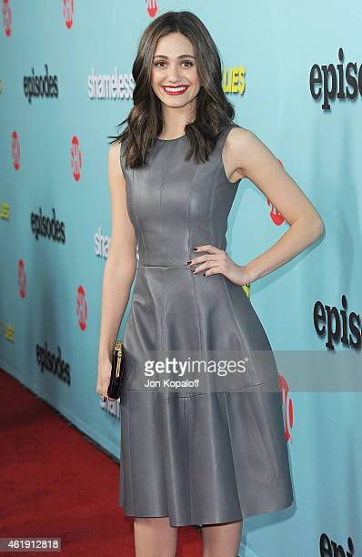 Actress Emmy Rossum arrives at Showtime Celebrates AllNew Seasons Of 'Shameless' 'House Of Lies' And 'Episodes' at Cecconi's Restaurant on January 5...