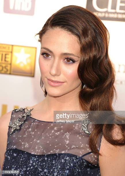 Actress Emmy Rossum arrives at the 18th Annual Critics' Choice Movie Awards at The Barker Hangar on January 10 2013 in Santa Monica California