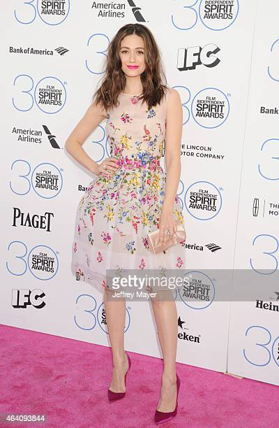Actress Emmy Rossum arrives at the 2015 Film Independent Spirit Awards on February 21 2015 in Santa Monica California