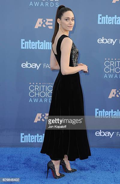 Actress Emmy Rossum arrives at The 22nd Annual Critics' Choice Awards at Barker Hangar on December 11 2016 in Santa Monica California
