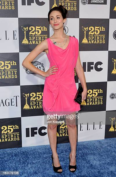 Actress Emmy Rossum arrives at the 25th Film Independent Spirit Awards held at Nokia Theatre LA Live on March 5 2010 in Los Angeles California