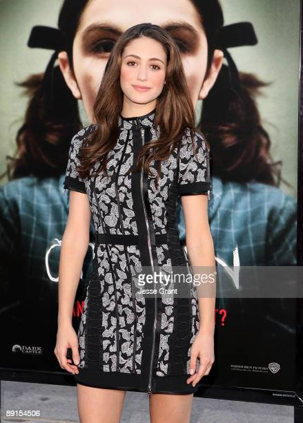 """Actress Emmy Rossum arrives at the Los Angeles premiere of """"Orphan"""" at the Mann Village Theatre on July 21, 2009 in Westwood, Los Angeles, California."""