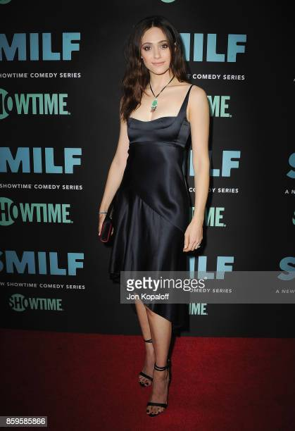 """Actress Emmy Rossum arrives at the Los Angeles Premiere """"SMILF"""" at Harmony Gold Theater on October 9, 2017 in Los Angeles, California."""