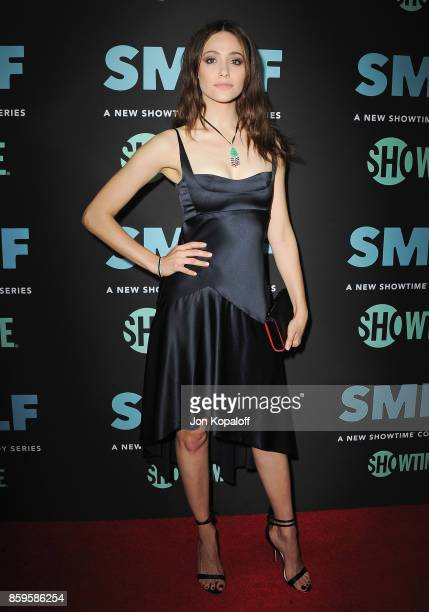 Actress Emmy Rossum arrives at the Los Angeles Premiere 'SMILF' at Harmony Gold Theater on October 9 2017 in Los Angeles California