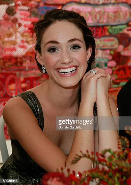 Actress Emmy Rossum attends a dinner hosted by Vogue and Mulberry celebrating the work of Alexandra Grant on display at the 'Some Paintings'...