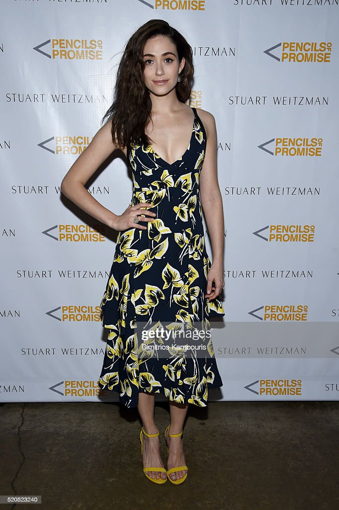 Actress Emmy Rossum attends as Stuart Weitzman launches its partnership with Pencils Of Promise at Sadelle's on April 11, 2016 in New York City.
