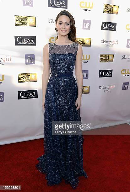 Actress Emmy Rossum attends the 18th Annual Critics' Choice Movie Awards held at Barker Hangar on January 10 2013 in Santa Monica California