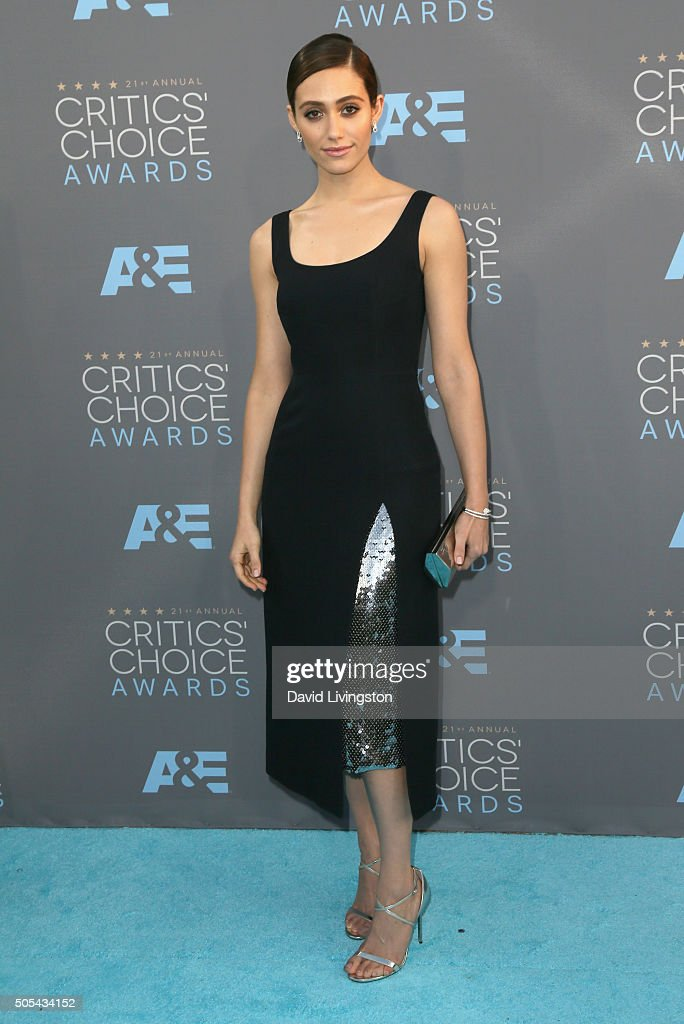 Actress Emmy Rossum attends The 21st Annual Critics' Choice Awards at Barker Hangar on January 17, 2016 in Santa Monica, California.