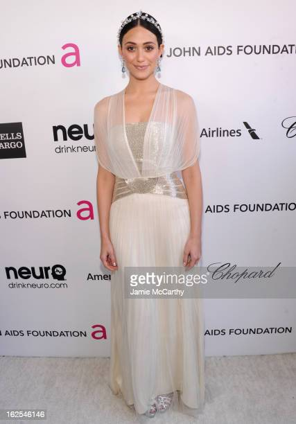 Actress Emmy Rossum attends the 21st Annual Elton John AIDS Foundation Academy Awards Viewing Party at West Hollywood Park on February 24 2013 in...