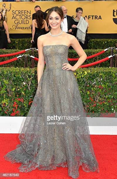 Actress Emmy Rossum attends the 21st Annual Screen Actors Guild Awards at The Shrine Auditorium on January 25 2015 in Los Angeles California