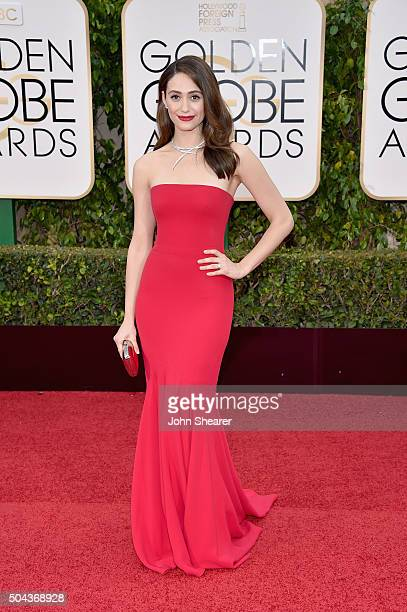 Actress Emmy Rossum attends the 73rd Annual Golden Globe Awards held at the Beverly Hilton Hotel on January 10 2016 in Beverly Hills California
