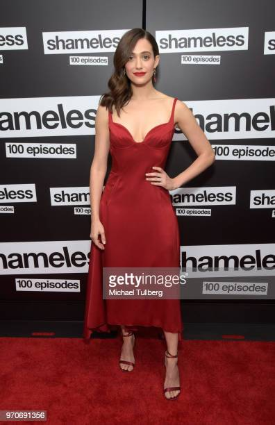 Actress Emmy Rossum attends the celebration of the 100th episode of Showtime's Shameless at DREAM Hollywood on June 9 2018 in Hollywood California