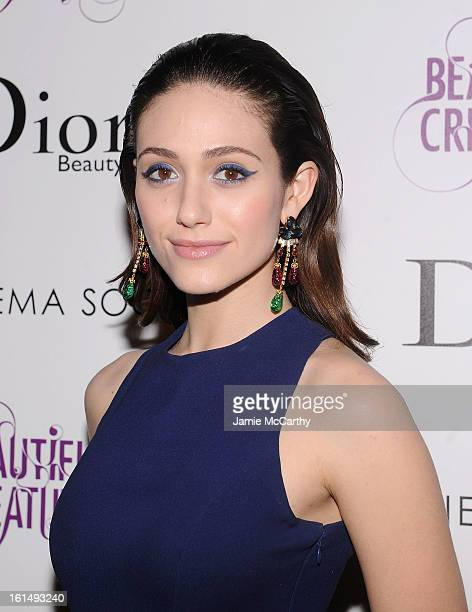 Actress Emmy Rossum attends The Cinema Society And Dior Beauty Presents A Screening Of Beautiful Creatures at Tribeca Cinemas on February 11 2013 in...