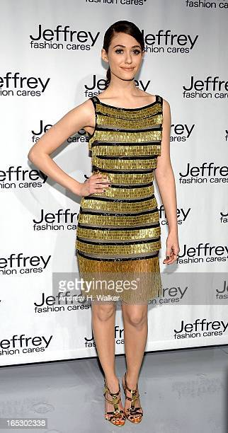Actress Emmy Rossum attends the Jeffrey Fashion Cares 10th Anniversary Celebration at The Intrepid on April 2 2013 in New York City