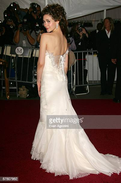 Actress Emmy Rossum attends the Metropolitan Museum of Art Costume Institute Benefit Gala Anglomania at the Metropolitan Museum of Art May 1 2006 in...