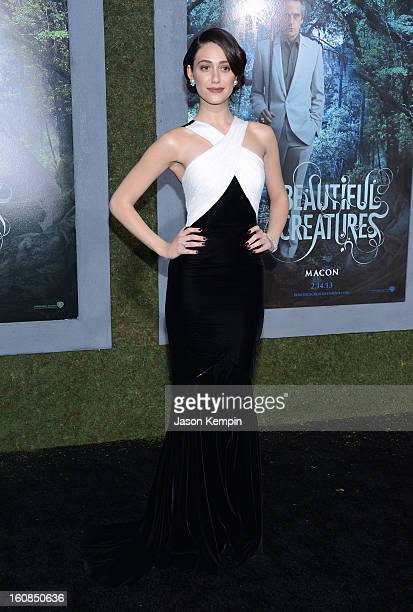 Actress Emmy Rossum attends the premiere Of Warner Bros Pictures' Beautiful Creatures at TCL Chinese Theatre on February 6 2013 in Hollywood...