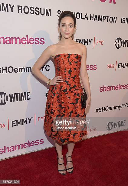 Actress Emmy Rossum attends the Screening And Panel Discussion With The Women Of Showtime's Shameless at The London Hotel on March 22 2016 in West...