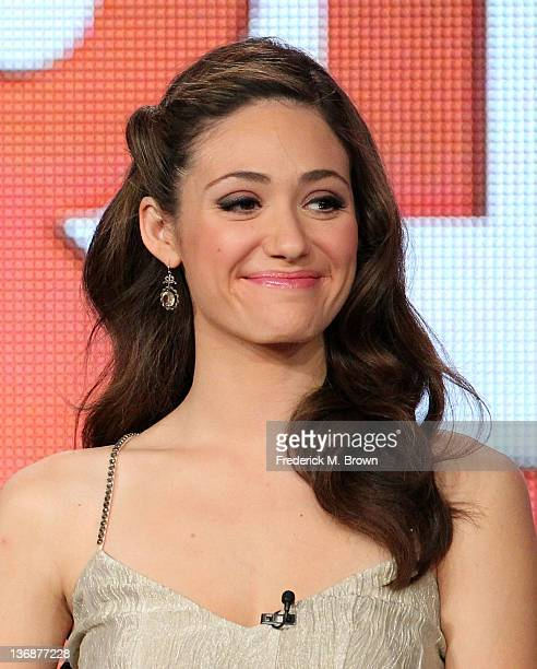 Actress Emmy Rossum of the television show 'Shameless' speaks during the Showtime portion of the 2012 Television Critics Association Press Tour at...