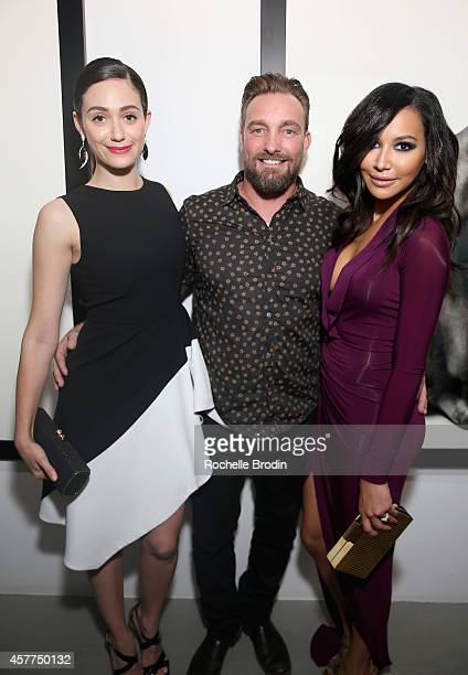 Actress Emmy Rossum photographer Brian Bowen Smith and actress Naya Rivera attend the Brian Bowen Smith WILDLIFE show hosted by Casamigos Tequila at...