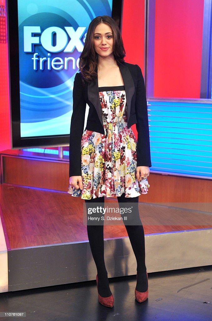 Emmy Rossum Visits FOX & Friends : News Photo