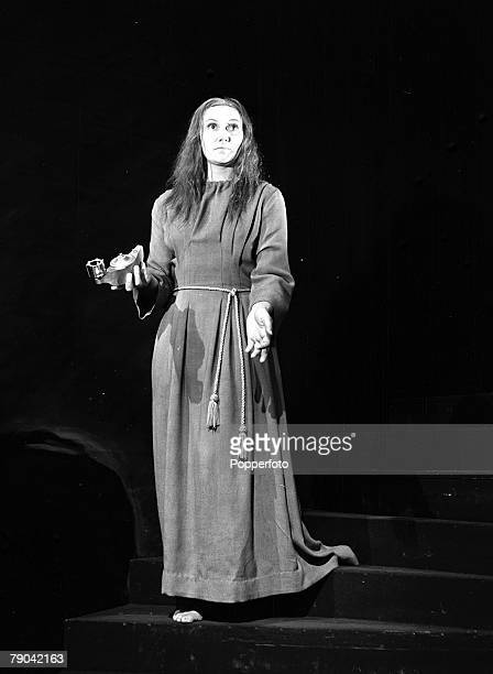Actress Ena Burril appears as Lady Macbeth on stage during the sleep walking scene in the Shakespeare play 26th November 1947
