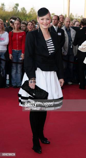 Actress Enie van de Meiklokjes arrives at the German Television Awards at the Coloneum on October 15 2005 in Cologne Germany