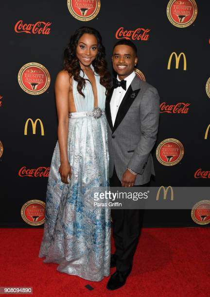 Actress Erica Ash and actor Larenz Tate attend the 26th Annual Trumpet Awards at Cobb Energy Performing Arts Center on January 20 2018 in Atlanta...