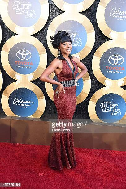 Actress Erica Ash arrives at the 2014 Soul Train Music Awards at the Orleans Areana on November 7 2014 in Las Vegas Nevada