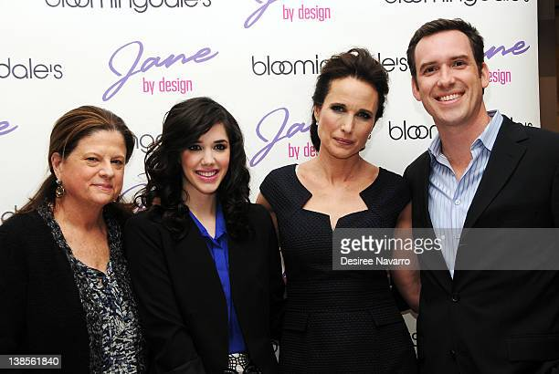 Actress Erica Dasher Andie MacDowell and ABC Family President Michael Riley attend the 'Jane By Design' PopUp Fashion Exhibit kickoff at...
