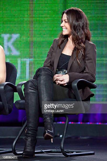 Actress Erica Durance of 'Smallville' speaks at the 2011 CW Winter TCA Panel at The Langham Huntington Hotel and Spa on January 14 2011 in Pasadena...