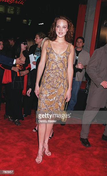 Actress Erica Leerhsen attends the premiere of her new movie 'Book Of Shadows Blair Witch 2' October 23 2000 in Hollywood CA