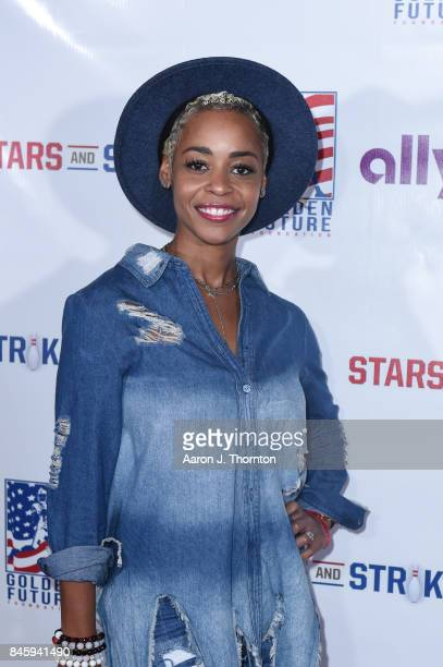 Actress Erica Peeples arrives to Golden Tate's 3rd Annual Stars and Strikes Bowling Event on September 11 2017 in Detroit Michigan